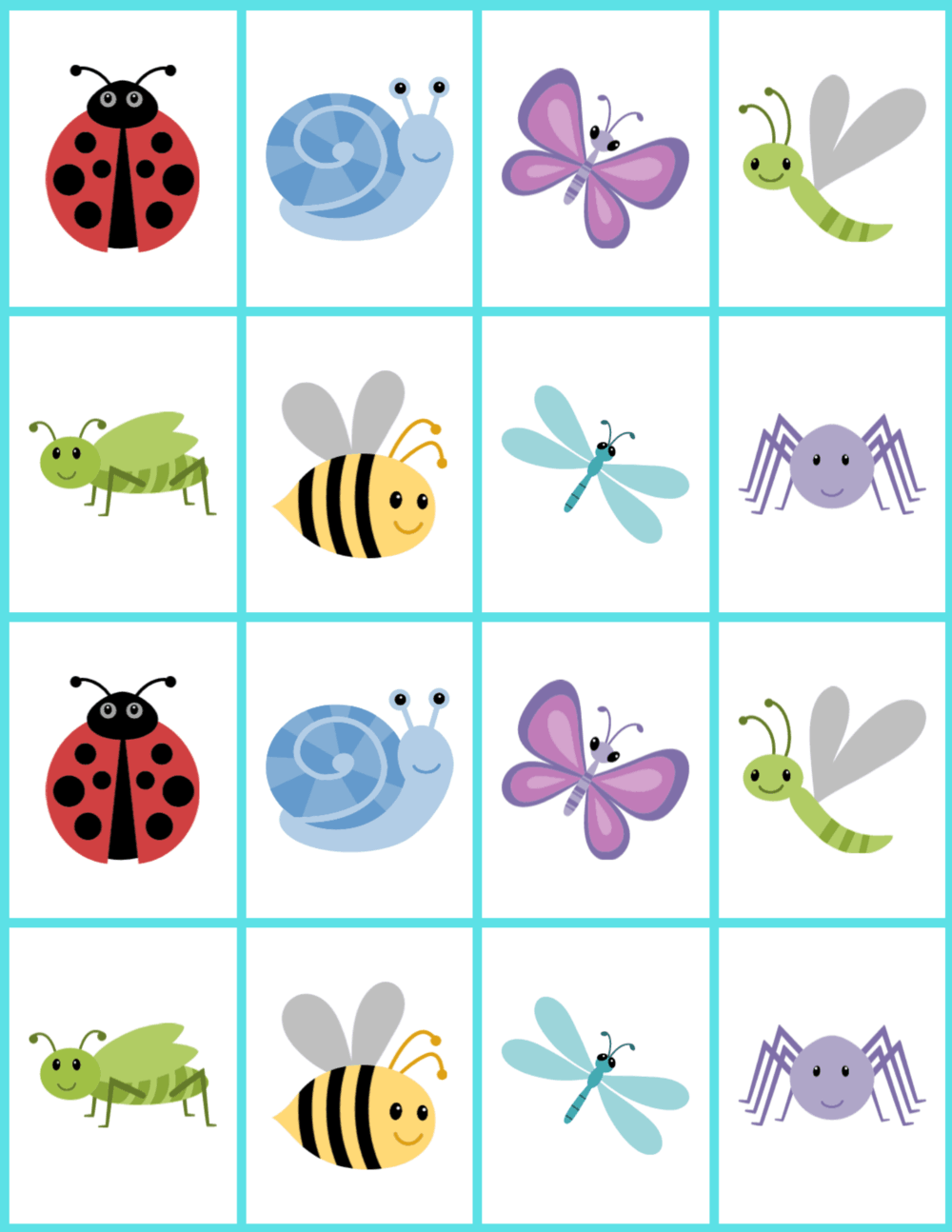 Cute color bugs for a memory matching game.