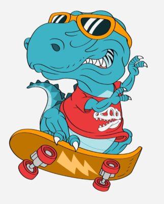 dinosaur on a skateboard
