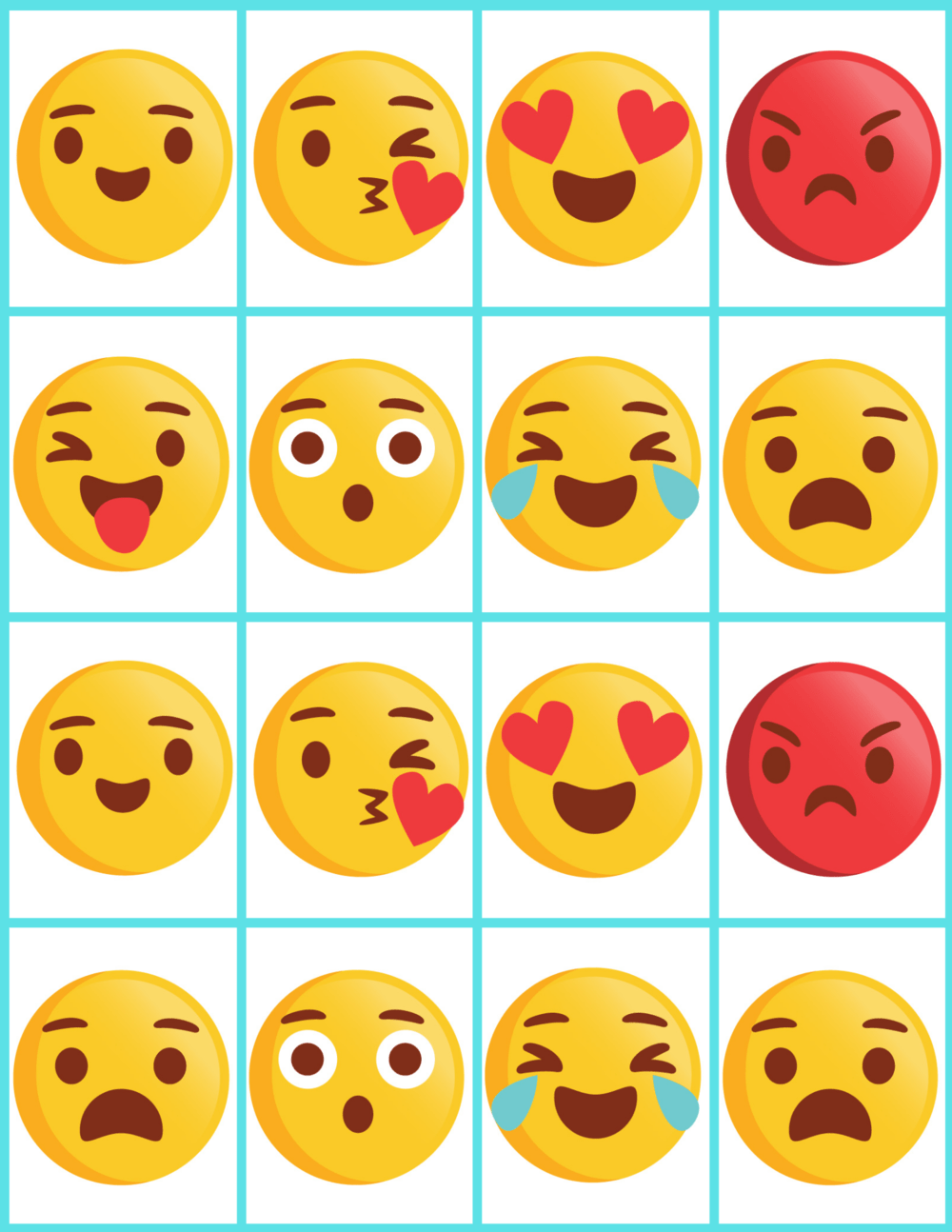 emoji faces memory cards with 8 faces