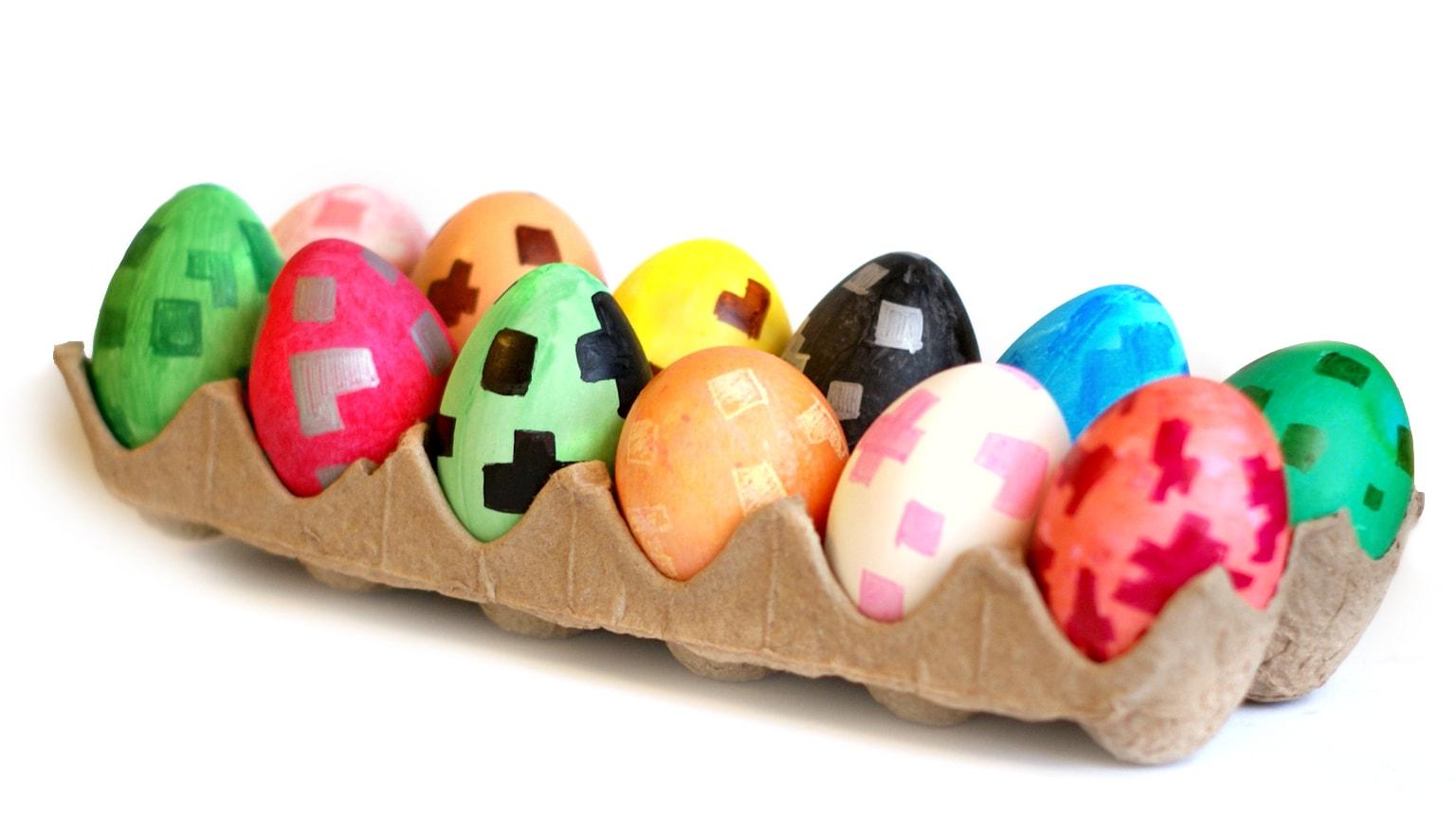 Plastic Minecraft hand painted eggs
