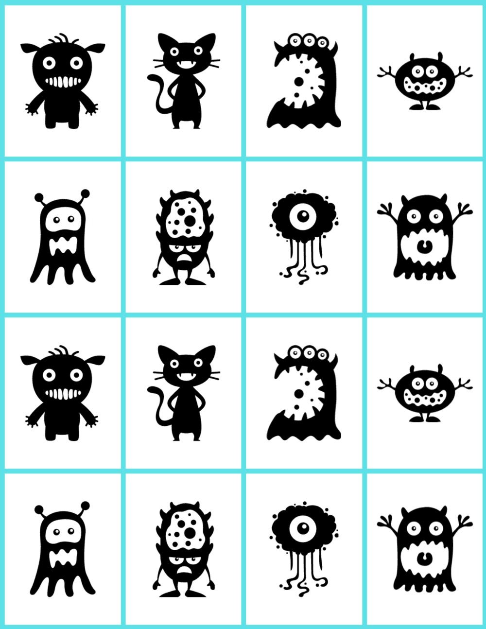 black and white silly monsters on cards for a memory matching game.