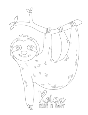 sloth on a branch coloring sheet