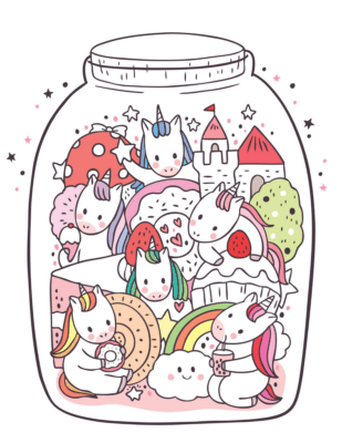unicorns in a jar coloring sheet
