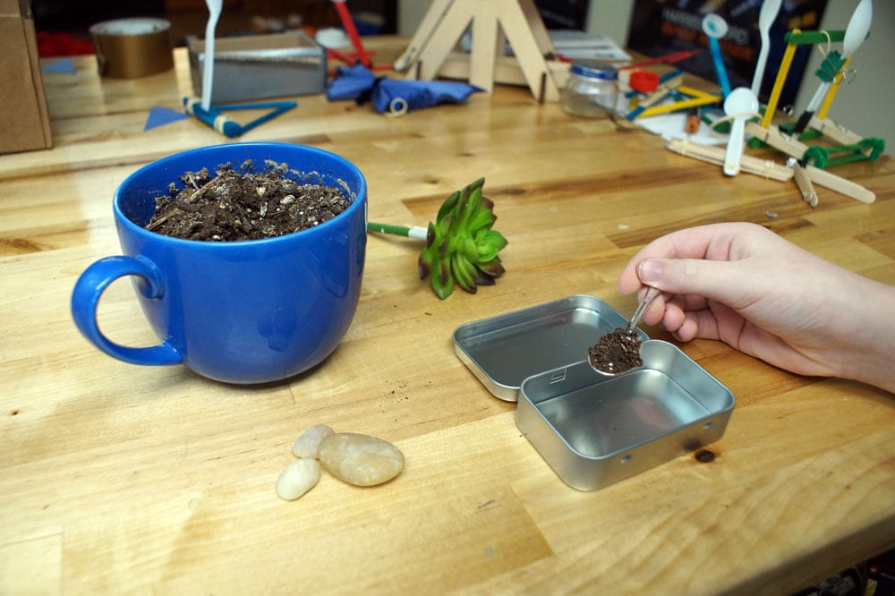 putting dirt in a tin with a tiny spoon