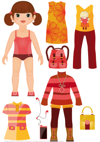 Casual Clothing with Accessories for a Girl Paper Doll