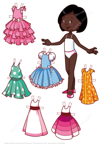 Six Beautiful Dresses for a Cute African American Girl Paper Doll