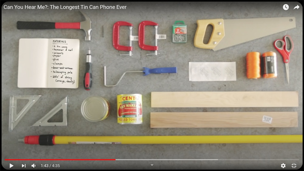 supplies used to make a very long tin can and string telephone