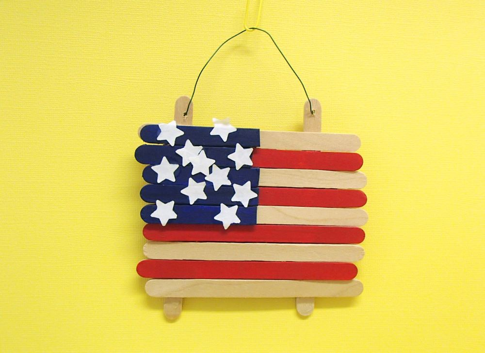 American flag made from star stickers and popscile sticks