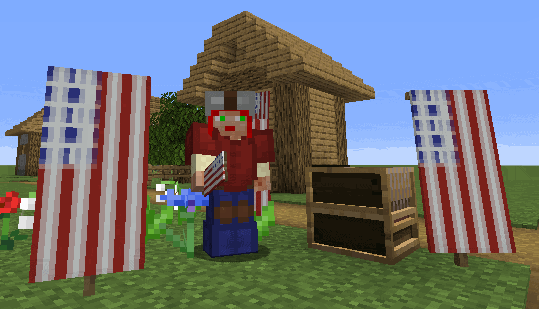 American flag banners in Minecraft