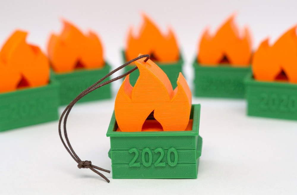 3d printed 2020 dumpster fires in green and orange