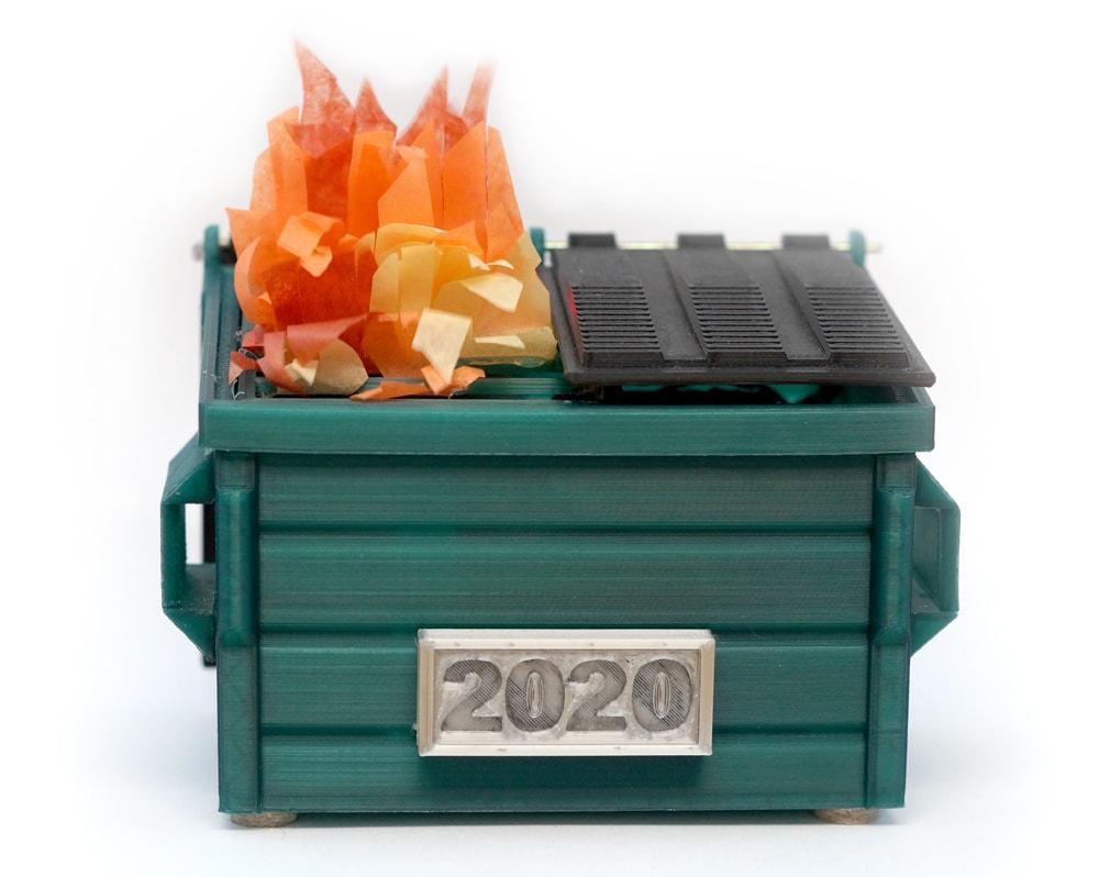 3d printed desktop dumpster fire