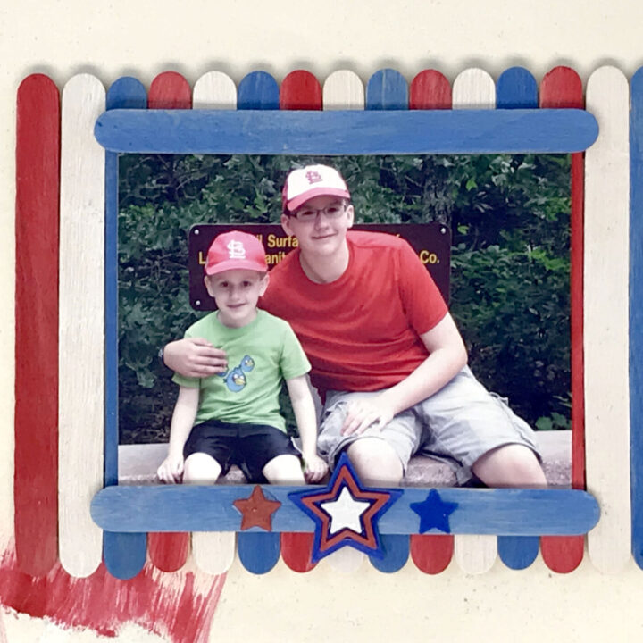 Red, White and Blue Popsicle Stick Frame
