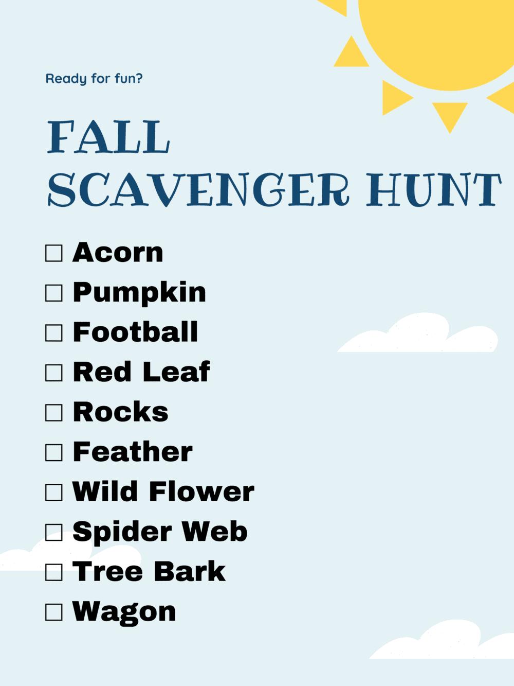 Fall Scavenger Hunt list