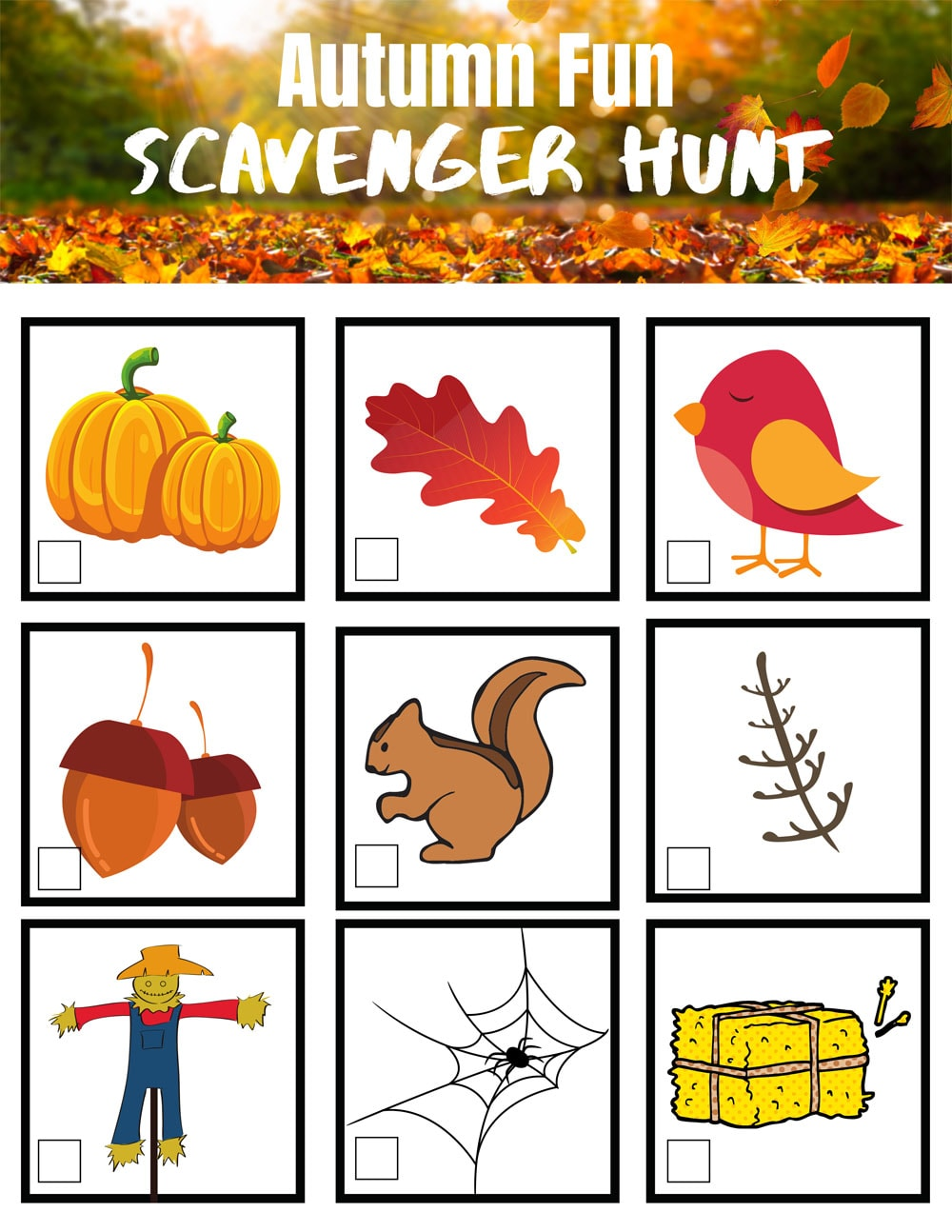 scavenger hunt list with pictures
