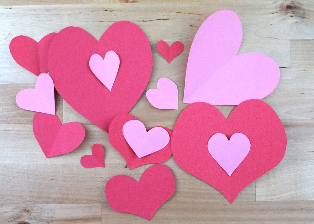 paper hearts in red and pink