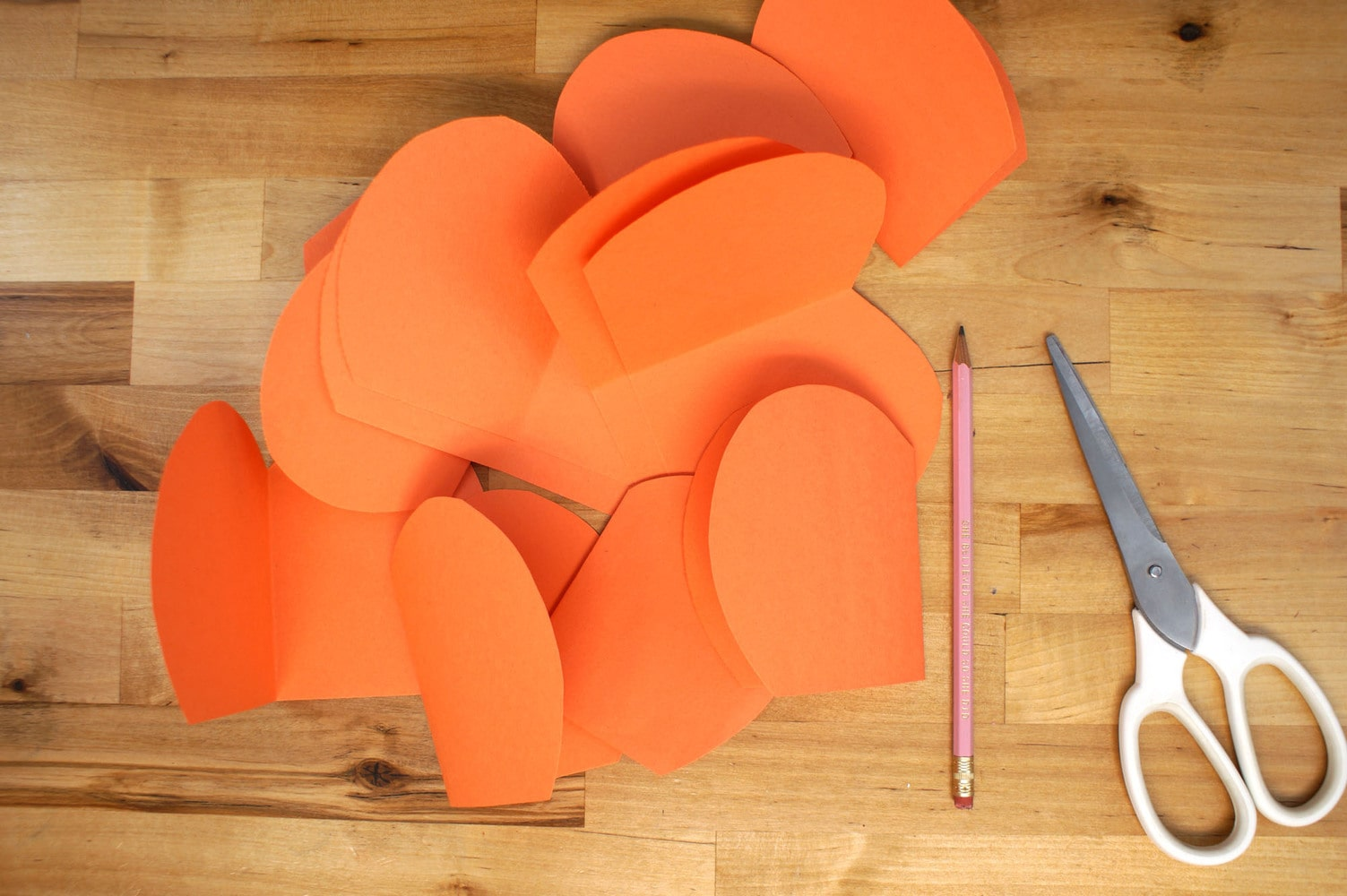 paper pumpkin slices cut from orange construction paper with pink pencil and a pair of scissors.