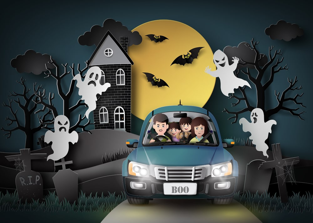 illustration of a family in  car on Halloween