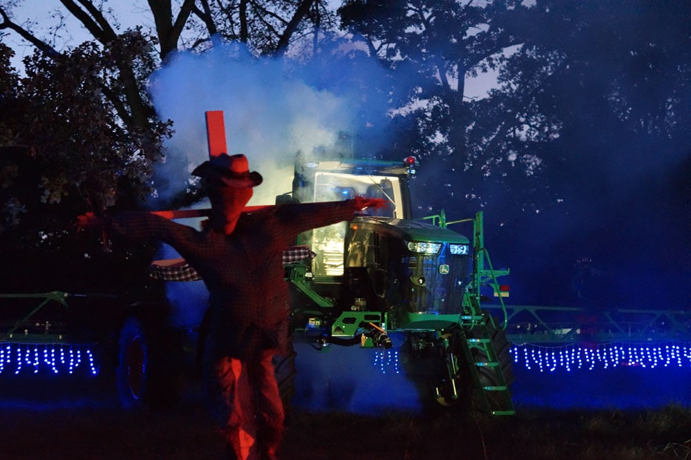 the Haunted Farm at Grants Farm with twinkle lights, a scare crow and spooky tractor