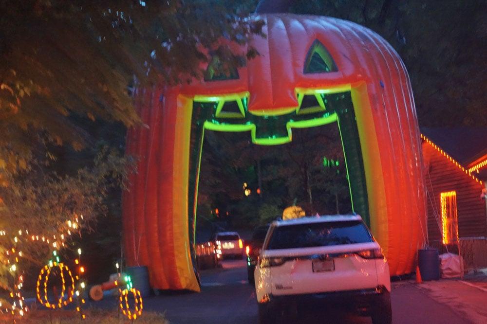 driving through a giant pumpkin at Grant's Farm Halloween nights 2020