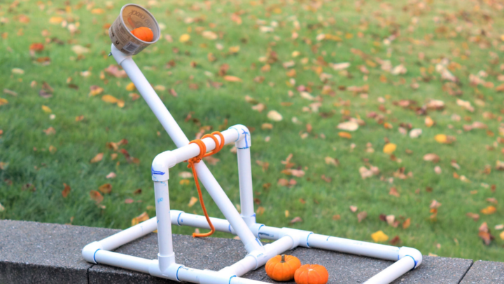 pvc catapult with a pumpkin