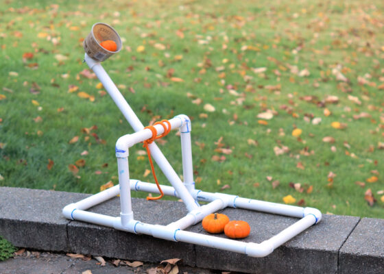 pvc catapult for small pumpkins in the backyard