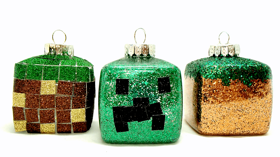cube shaped Minecraft ornaments