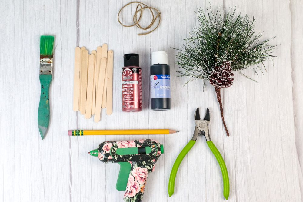 supplies to make a popsicle sled Christmas ornament
