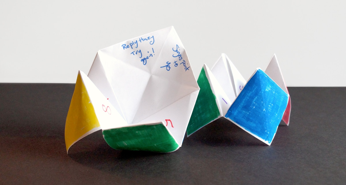 fortune tellers made with fold paper and colored with magic marker