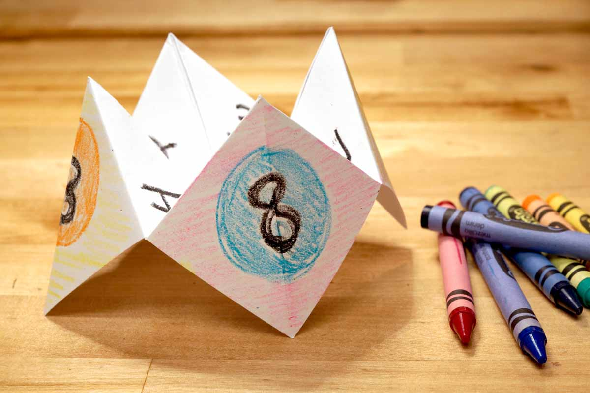 paper fortune teller with crayon decorations