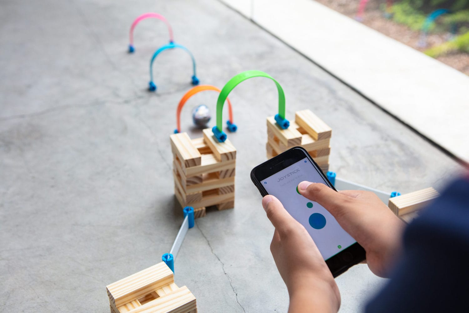 sphero robot ball running an obstacle course with blocks